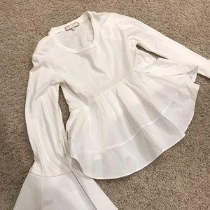 Eri + Ali white peplum long sleeve top